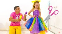 美国儿童时尚,小萝莉和爸爸做派对礼服