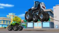 儿童工程车动漫 超级疯狂怪兽车大脚弹跳卡车失控了