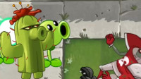 植物大战僵尸:僵尸举着旗子,带领大部队来攻击小植物