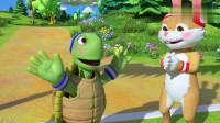 英语益智动漫 兔子和乌龟赛跑,兔子遥遥领先,然后就放松了警惕