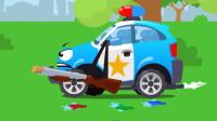 汽车玩具视频:警车用水果枪射击追捕中的坏蛋卡车