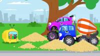 汽车玩具视频:挖掘机为捡足球挖坏了一条公路,搅拌车看电视被打扰