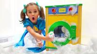 太奇怪,萌娃小萝莉怎么帮小正太洗衣服?可是洗衣机怎么坏了?儿童亲子益智趣味游戏玩具故事