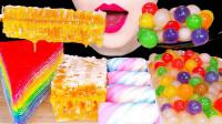 色彩缤纷的彩虹千层,和彩色珍珠真是高颜值,搭配蜂巢蜜吃甜到心里