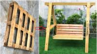 木托盘新玩法,做成秋千放后院,也是一种享受啊