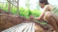 原始技能为别墅制作竹台阶