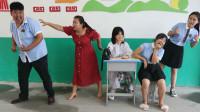 学霸王小九校园剧:老师带学生打防疫针,没想轮到男同学时吓得拔腿就跑,太逗了