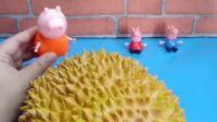 小猪佩奇:今天请小猪佩奇一家吃榴莲,怎么都走了呀,他们不喜欢吃吗