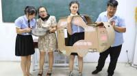 学霸王小九校园剧:老师让学生比赛吃大盘鸡,谁吃得快有奖励,没想奖励是辆手工汽车