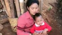 缅甸美女单独带个孩子,看到眼前的这一幕,真想给她找个老公!
