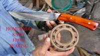 锻造大师用轴承打造了一把短刀,这手艺让人佩服