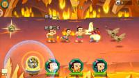54 葫芦娃游戏,第五章火焰洞窟第9关,四娃要摧毁这个火焰洞窟