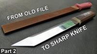 将生锈锉刀打造成一把长刀,这手艺和细节太讲究了