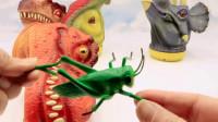拆箱四只恐龙木偶玩具收纳箱