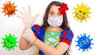 太聪明,萌娃小萝莉怎么戴上口罩了?可是她怎么消灭细菌呢?儿童亲子益智趣味游戏玩具故事