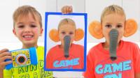 太好笑,萌娃小正太怎么长出了大象鼻子?弟弟用照相机做了什么?儿童亲子益智趣味游戏玩具故事