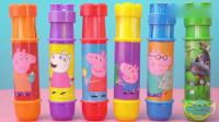 奇奇和悦悦的玩具:小猪佩奇魔法粉笔变出超级飞侠和恐龙玩具,五颜六色的魔法粉笔