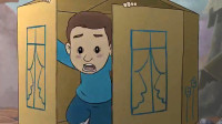 国家饱受战争困扰,小男流离失所,唯有用纸皮箱给自己做一个家
