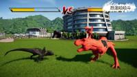 红色汽笛人版霸王龙激战黑色迅猛龙 恐龙动漫