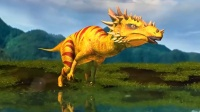 侏罗纪大冒险:肿头龙居然被两只偷蛋龙用爪子攻击到.mp4