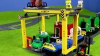 乐高城市列车用玩具汽车起重机和卡车