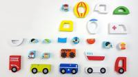 不同的积木汽车玩具展示