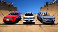 GTA5 MOD:三台豪华SUV从万米高空冲下会发生什么呢