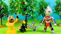 奥特曼玩具:怪兽巴尔坦来熊二果园作客,迪迦奥特曼也在