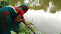 印度大婶捕鱼,撒网技术一点也不输给男的,看看她捕获了多少?