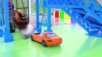 乐享知识乐园的橙色奔驰跑车缓缓驶入挂车
