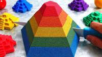 小伙脑洞全开,用太空沙打造彩色金字塔,结果太治愈了!