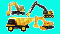 工程车游戏闯关动画合集03 挖掘机不畏艰险爬上高台去施工