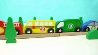 彩色积木汽车玩具寻找对应的停车场