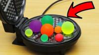 将弹力球放在华夫饼机上会怎样?老外作死测试,结果意想不到