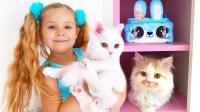 萌娃小萝莉和她的三只小猫的故事!猫咪太可爱了!
