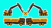 工程车游戏闯关动画合集09 卡车挖机冒险运大石