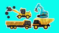 工程车游戏闯关动画合集11 卡车运石块 装载机冒险来帮忙
