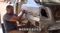 埃及大叔维修撕裂的汽车后翼子板,损伤区域太大了,这样的损伤也能修好真是服了