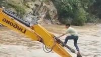 挖掘机司机上班,这操作也是没谁了,真是开眼了