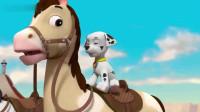 汪汪队立大功:憨憨的温纳先生,骑个机器马,还卡在倒退档了!