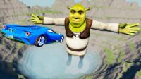 高速汽车冲向怪物史莱克会怎样?3D动画模拟,场面超刺激!