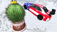 汽车能飞跃带刺的仙人掌球吗?3D动画模拟,下场不要太惨!