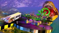 汽车一路过关斩将竟只为给恐龙送食?3D动画模拟,场面超刺激!