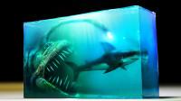 环氧树脂有多神奇?牛人定格巨齿鲨捕食的场景,成品惊艳众人!