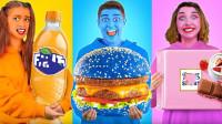 姐弟三人花样挑战,24小时只吃一种颜色食物,结果你猜怎么着?
