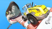 高速汽车碰上饥饿鲨鱼会怎样?3D动画演示,场面惊心动魄!