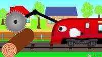 成长益智玩具,行驶的火车边行驶边清理火车轨道上的木头!