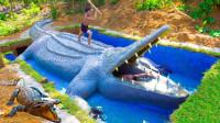 小伙为饲养鳄鱼,徒手挖出一座巨型鳄鱼池,成品相当霸气!