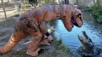 饲养员扮成恐龙,挑逗水里的鳄鱼,结果鳄鱼的反应让人难以相信!