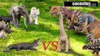 [咯咯玩具] 韓國玩具 - [第2季] 侏罗纪世界 3集 : 鳄鱼 vs 腕龙属